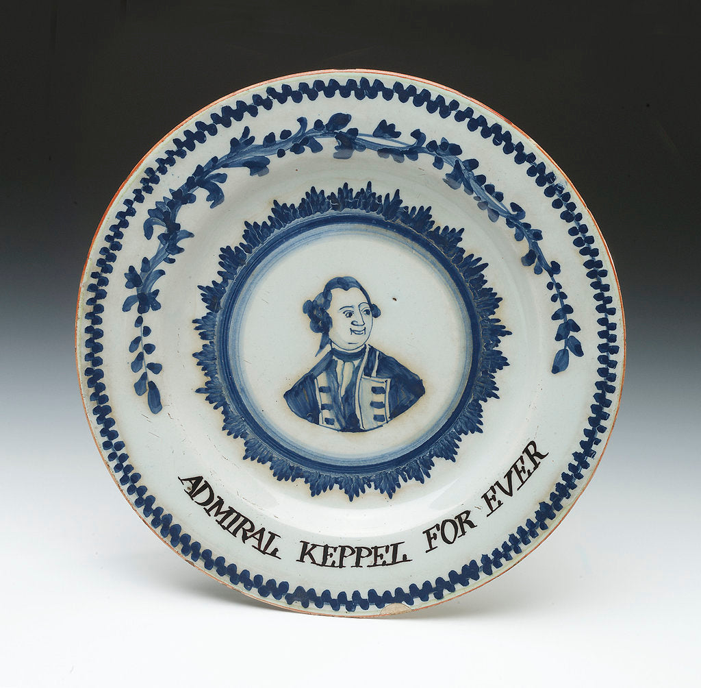 Detail of English delftware plate by unknown