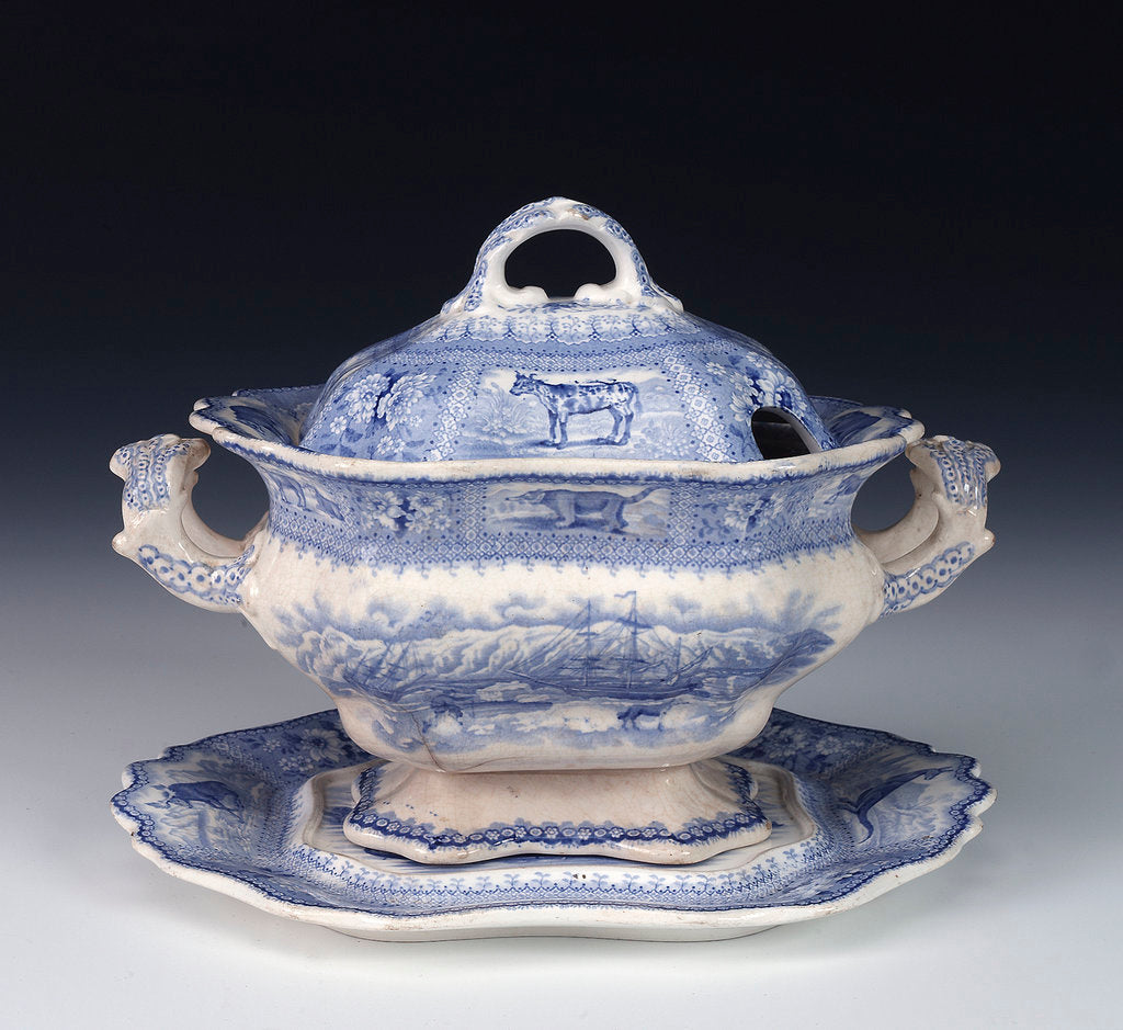 Detail of Tureen in 'Arctic Scenery' pattern by unknown
