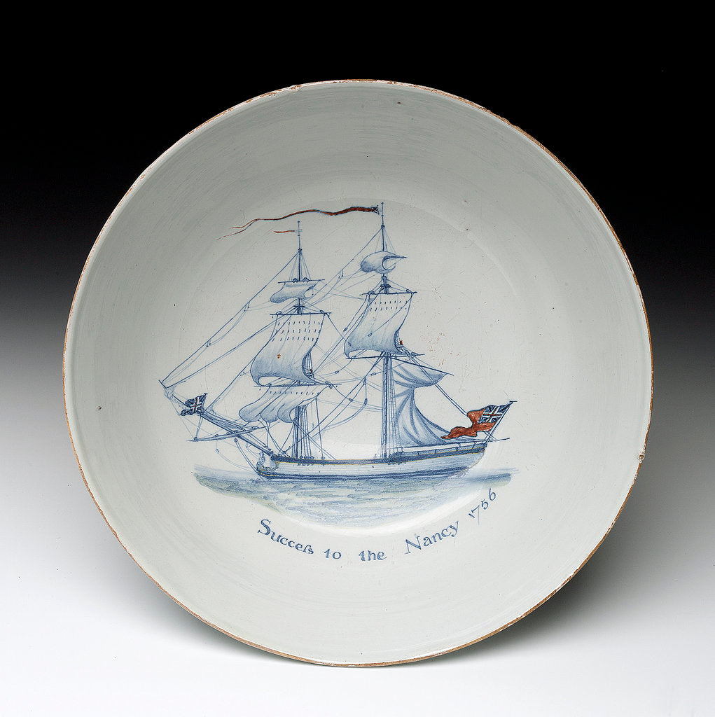 Detail of Delftware ship bowl by unknown