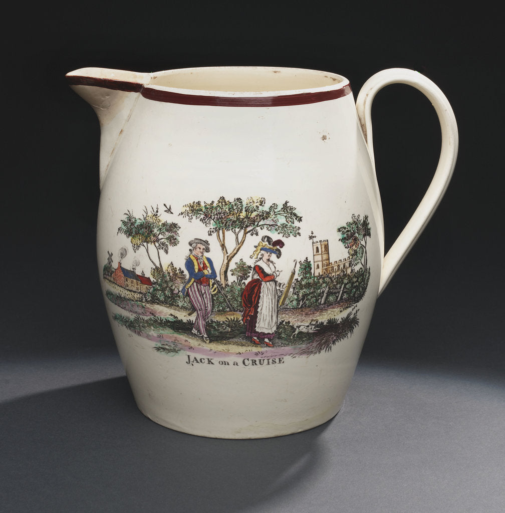 Detail of Creamware jug by unknown