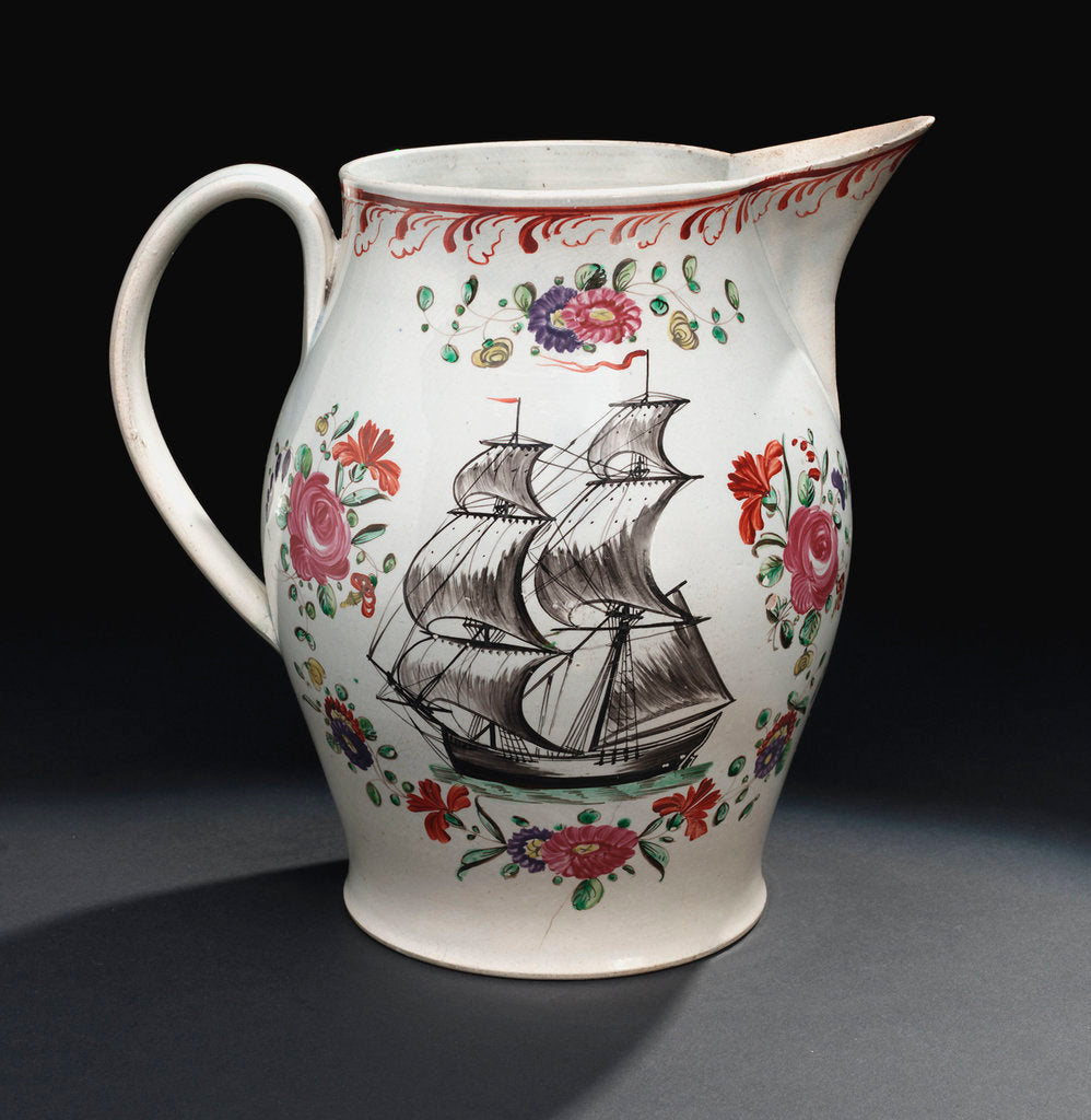 Detail of Pearlware jug by unknown