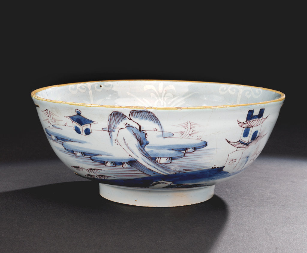 Detail of Delftware punch bowl by unknown