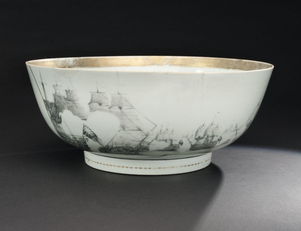 Detail of Bowl with a depiction of the Battle of the Saints, 1782 by unknown