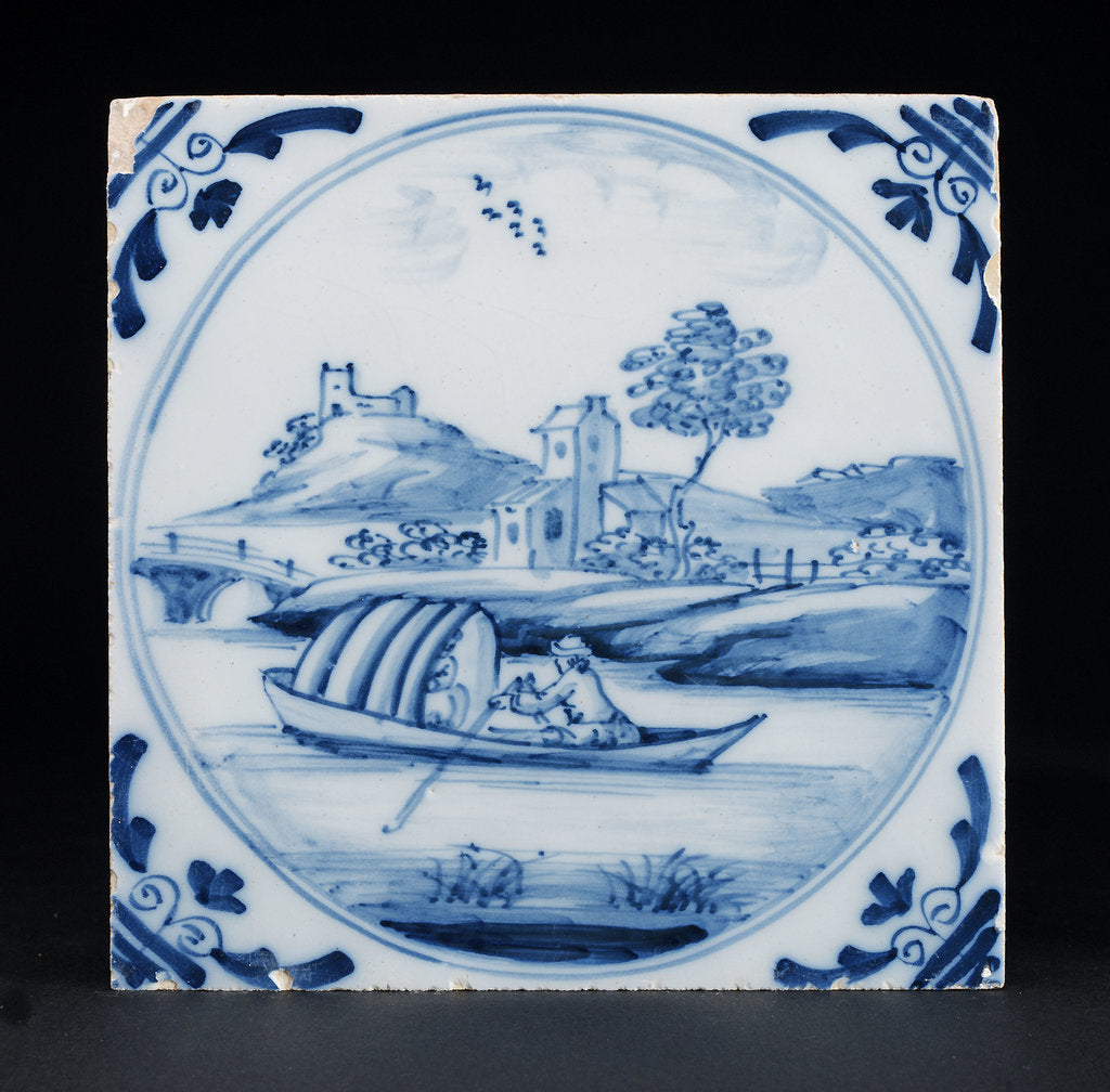 Detail of English delftware tile by unknown