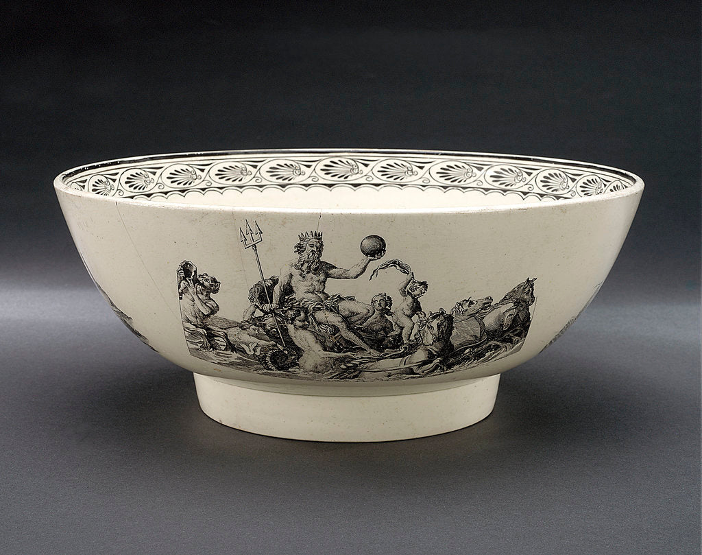 Detail of Creamware punch bowl by unknown