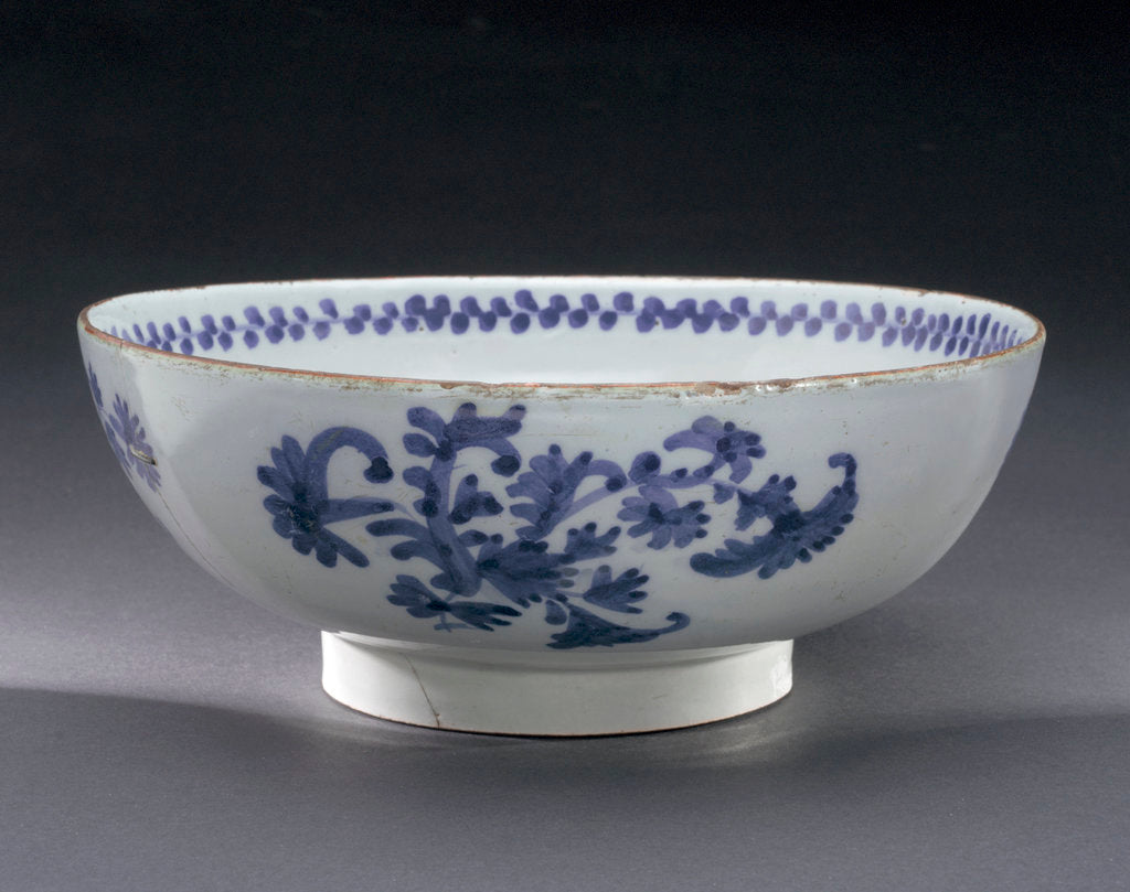 Detail of English delftware punch bowl by unknown