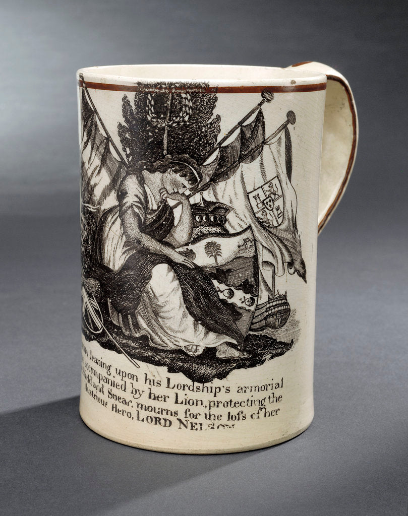 Detail of Creamware mug commemorating Vice-Admiral Horatio Nelson (1758-1805) by unknown