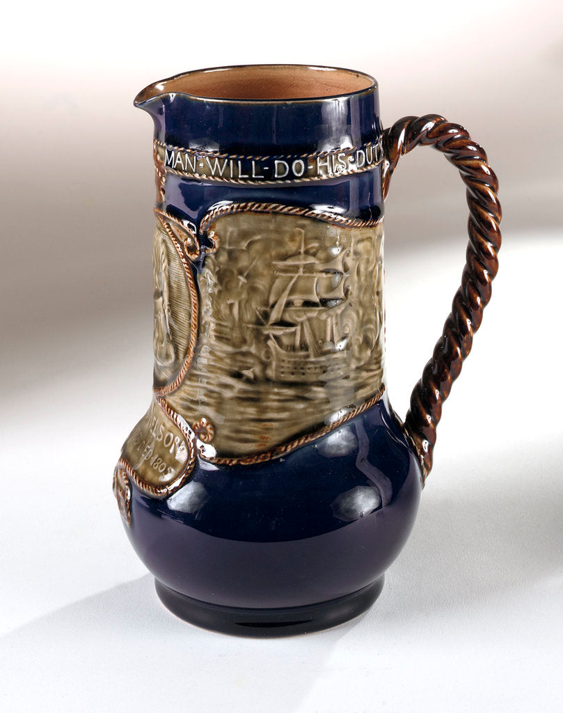 Detail of Trafalgar centenary commemorative hot water jug by Doulton & Co. Ltd.