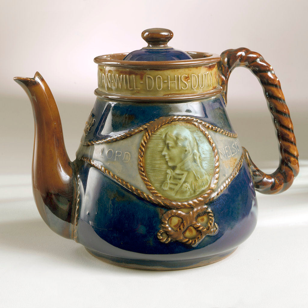 Detail of Trafalgar centenary commemorative teapot and lid by Doulton & Co. Ltd.