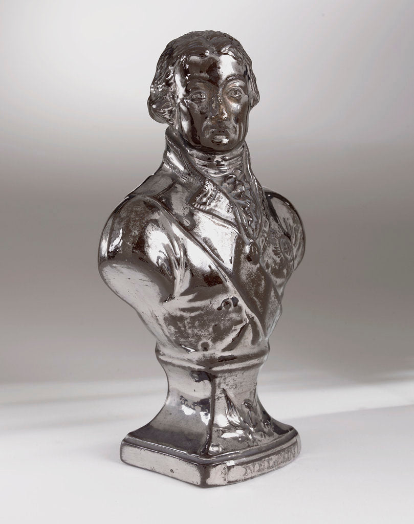 Detail of Brown earthenware bust with a silver lustre glaze depicting Vice-Admiral Horatio Nelson (1758-1805) by Doulton & Co. Ltd.