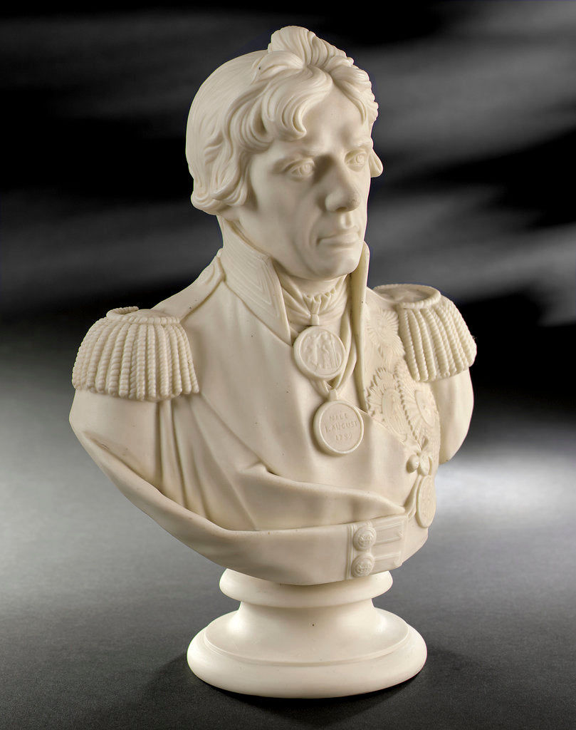 Detail of Parian ware bust of Vice-Admiral Horatio Nelson (1758-1805) by W.T. Copeland & Sons Ltd.