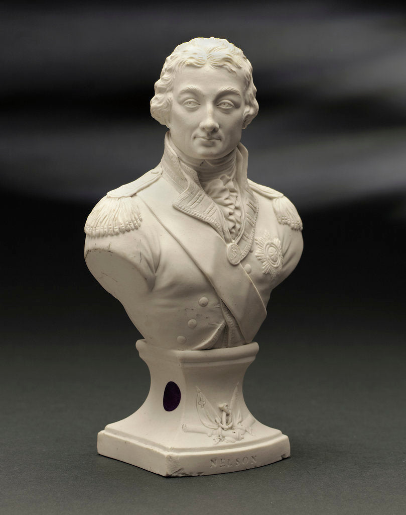 Detail of Biscuit ware, half-length bust of Vice-Admiral Horatio Nelson (1758-1805) by Pierre Stephan