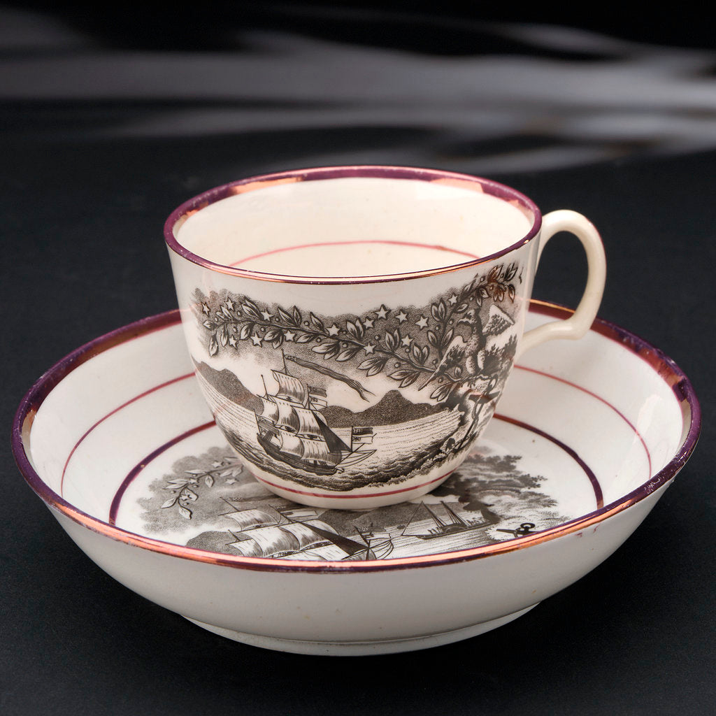 Detail of Porcelain cup and saucer by Worthington