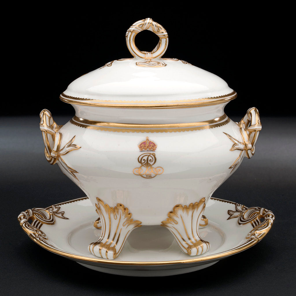 Detail of Tureen used on HMY 'Victoria and Albert' (1899) by Royal Crown Derby Porcelain Co