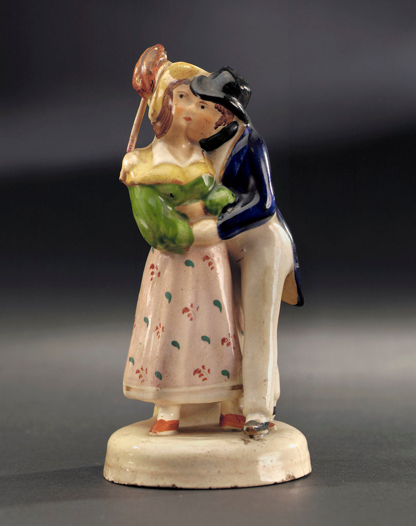 Detail of Earthenware figure group: a sailor, newly ashore, embraces his comely lass by unknown