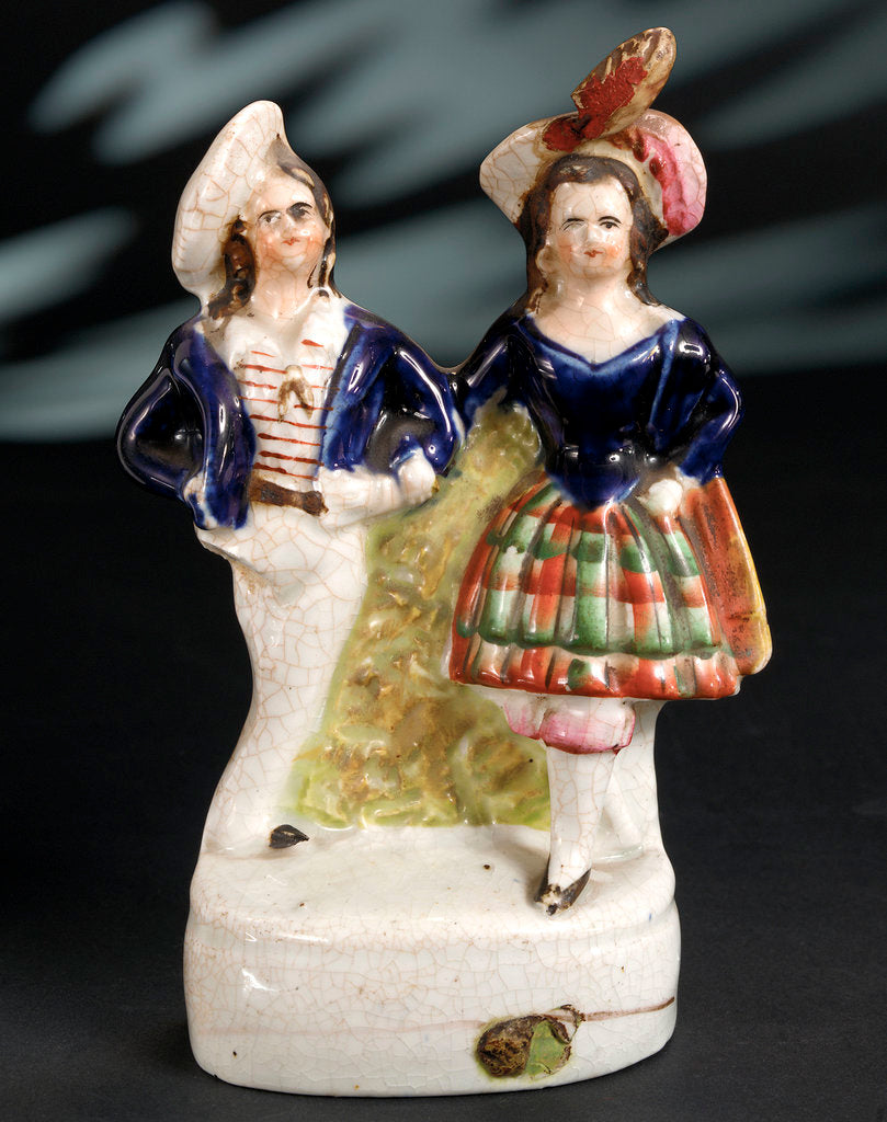 Detail of Earthenware figure group depicting a sailor and lass by unknown