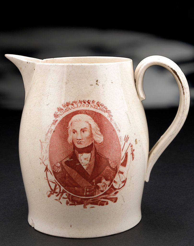 Detail of Horatio Nelson creamware jug by unknown