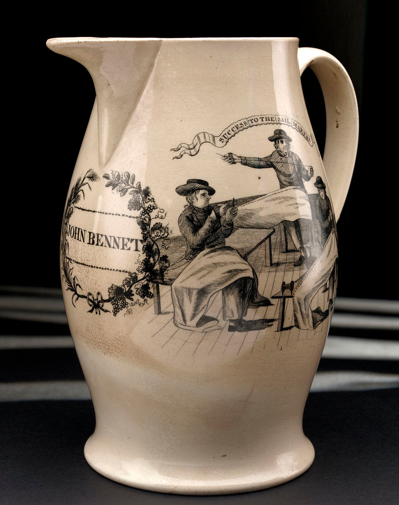 Detail of Liverpool transfer-printed creamware jug by unknown