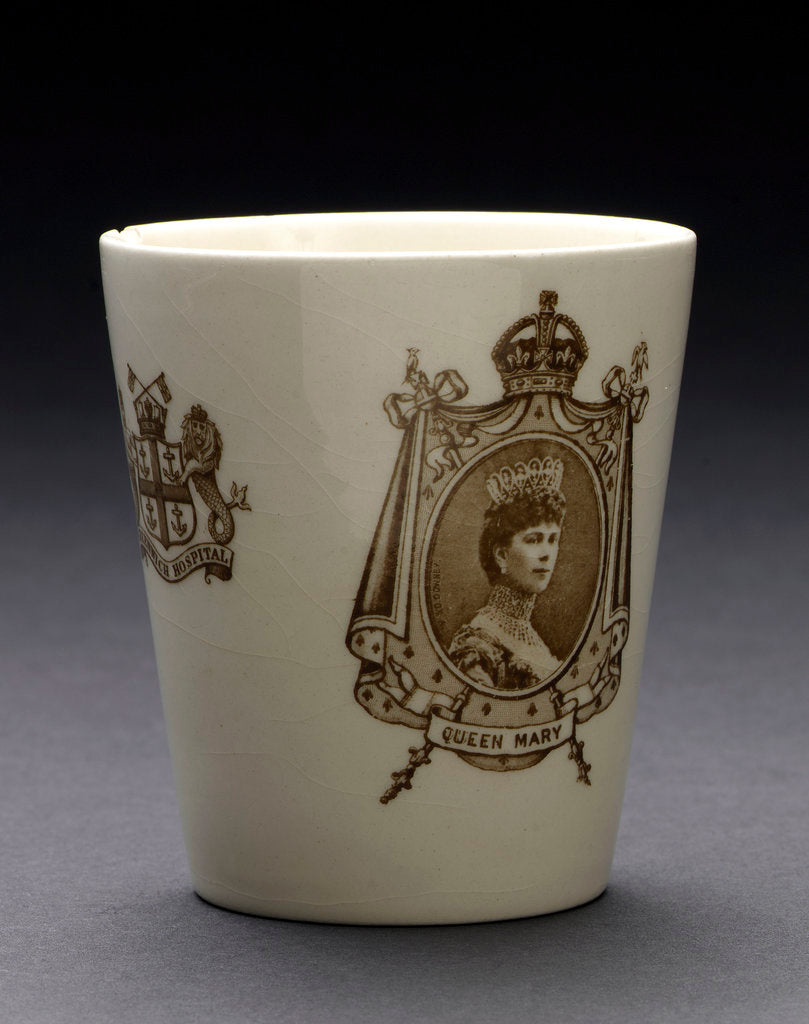 Detail of Porcelain beaker inscribed 'CORONATION 1911' by Doulton & Co. Ltd.
