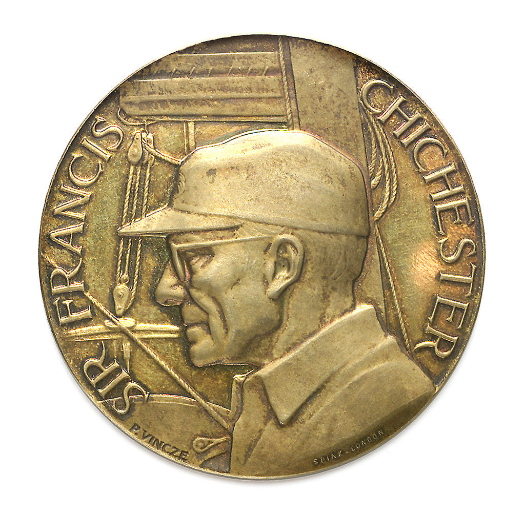 Detail of Commemorative medal depicting Sir Francis Chichester (1901-1972) and 'Gypsy Moth IV'; obverse by Spink & Son Ltd.