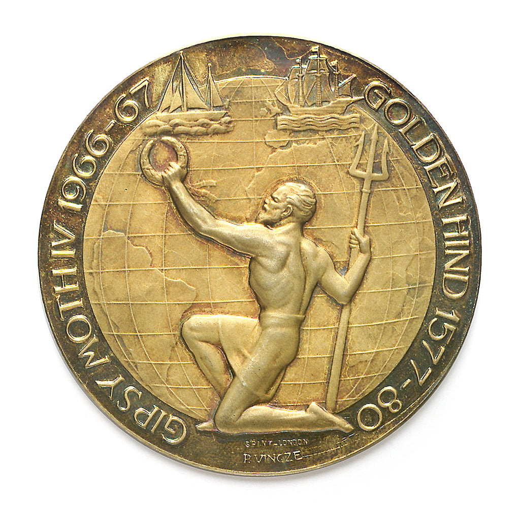 Detail of Commemorative medal depicting Sir Francis Chichester (1901-1972) and 'Gypsy Moth IV'; reverse by Spink & Son Ltd.