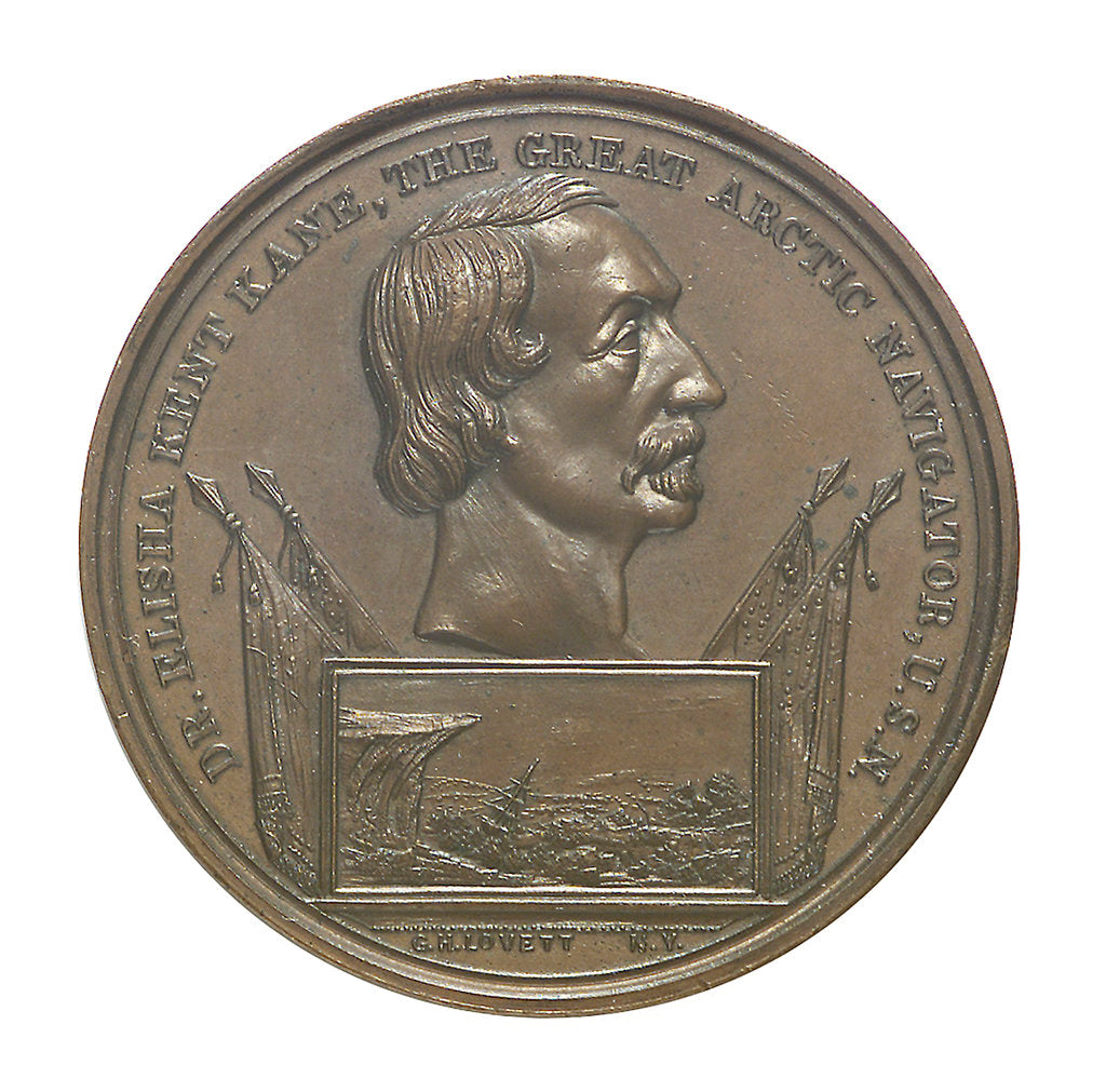 Detail of Medal commemorating Elisha Kent Kane (1820-1857); obverse by G.H. Lovett