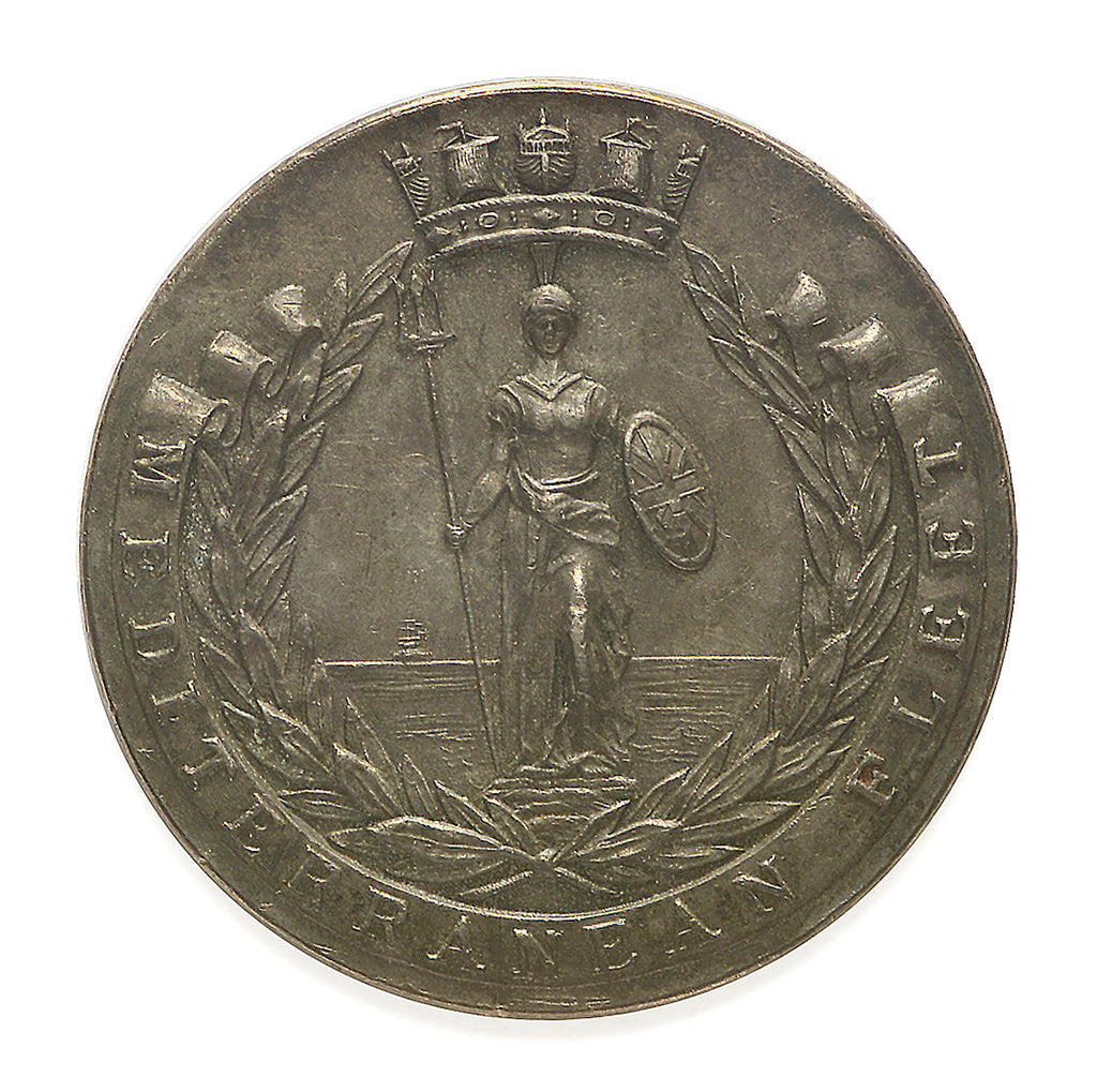 Detail of Medal commemorating Mediterranean Fleet football; obverse by Phillips