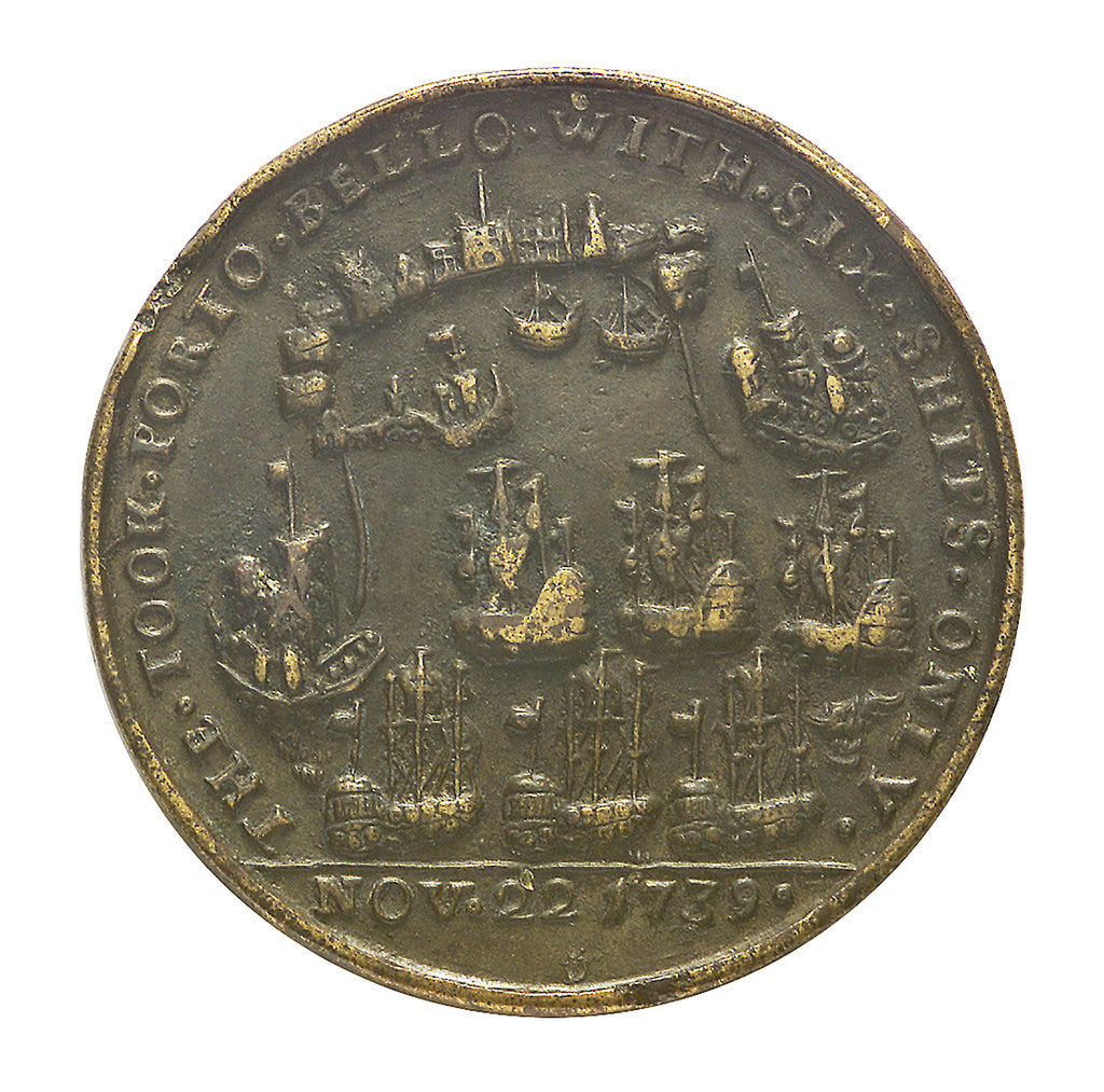 Detail of Medal commemorating the capture of Porto Bello by Admiral Vernon and Commodore Brown, 1739; reverse by unknown
