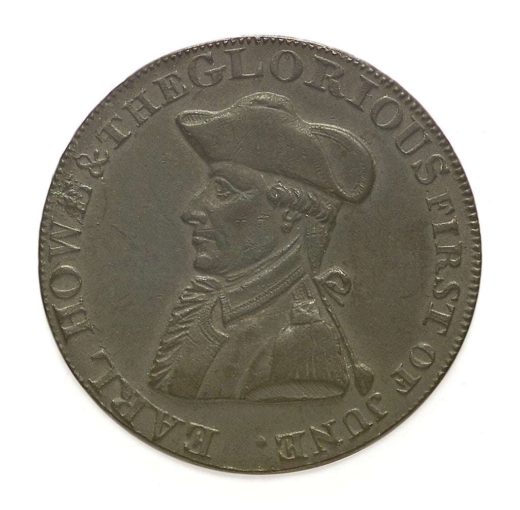 Detail of Token depicting Admiral of the Fleet Richard Howe (1726-1799) and the Glorious First of June, 1794; obverse by T. Wyon