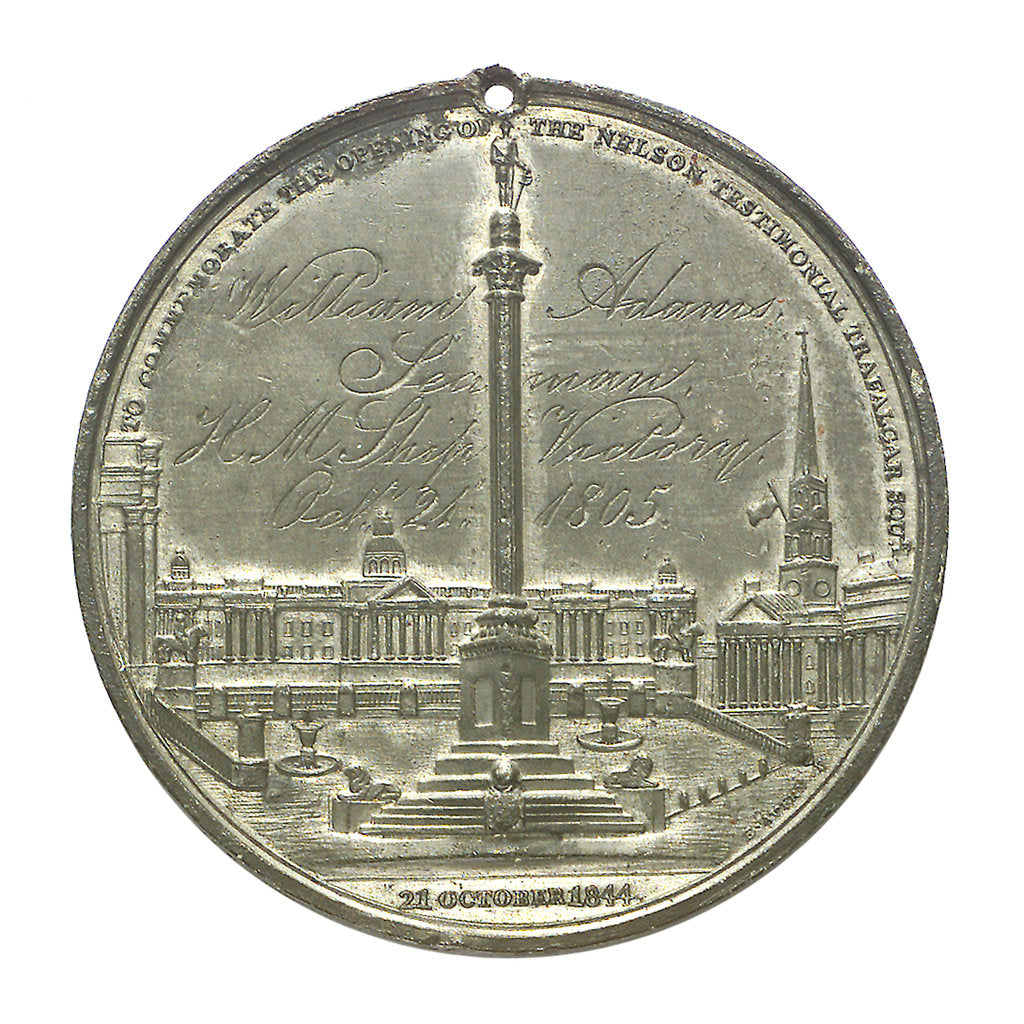Detail of Commemorative medal depicting the Trafalgar Square Monument; reverse by E. Avern