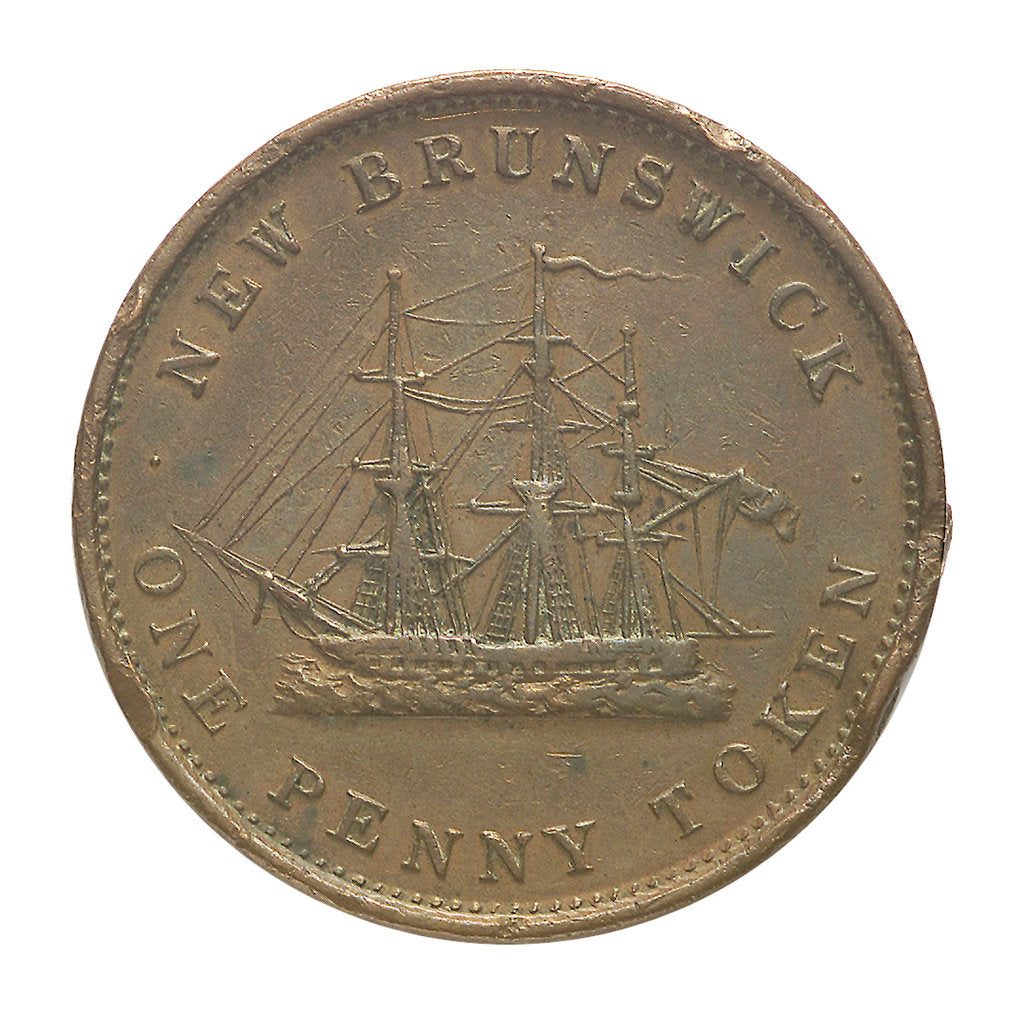 Detail of New Brunswick penny token; reverse by unknown