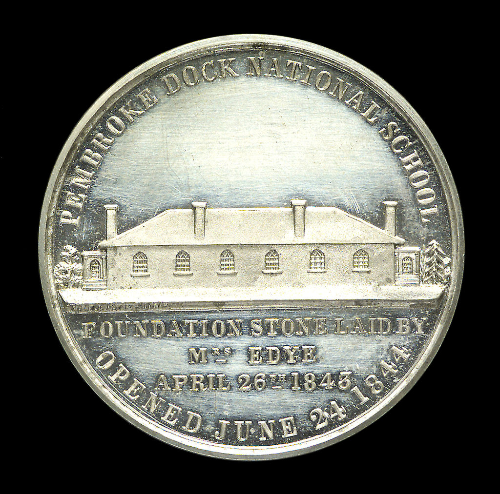 Detail of Medal commemorating the opening of the Pembroke Dock National School, 24 June 1844; obverse by unknown
