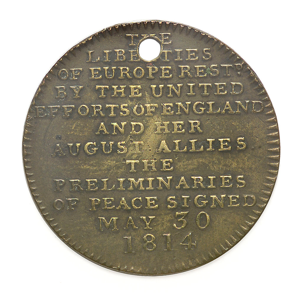 Detail of Medal commemorating the signing of peace preliminaries May 30 1814; reverse by unknown