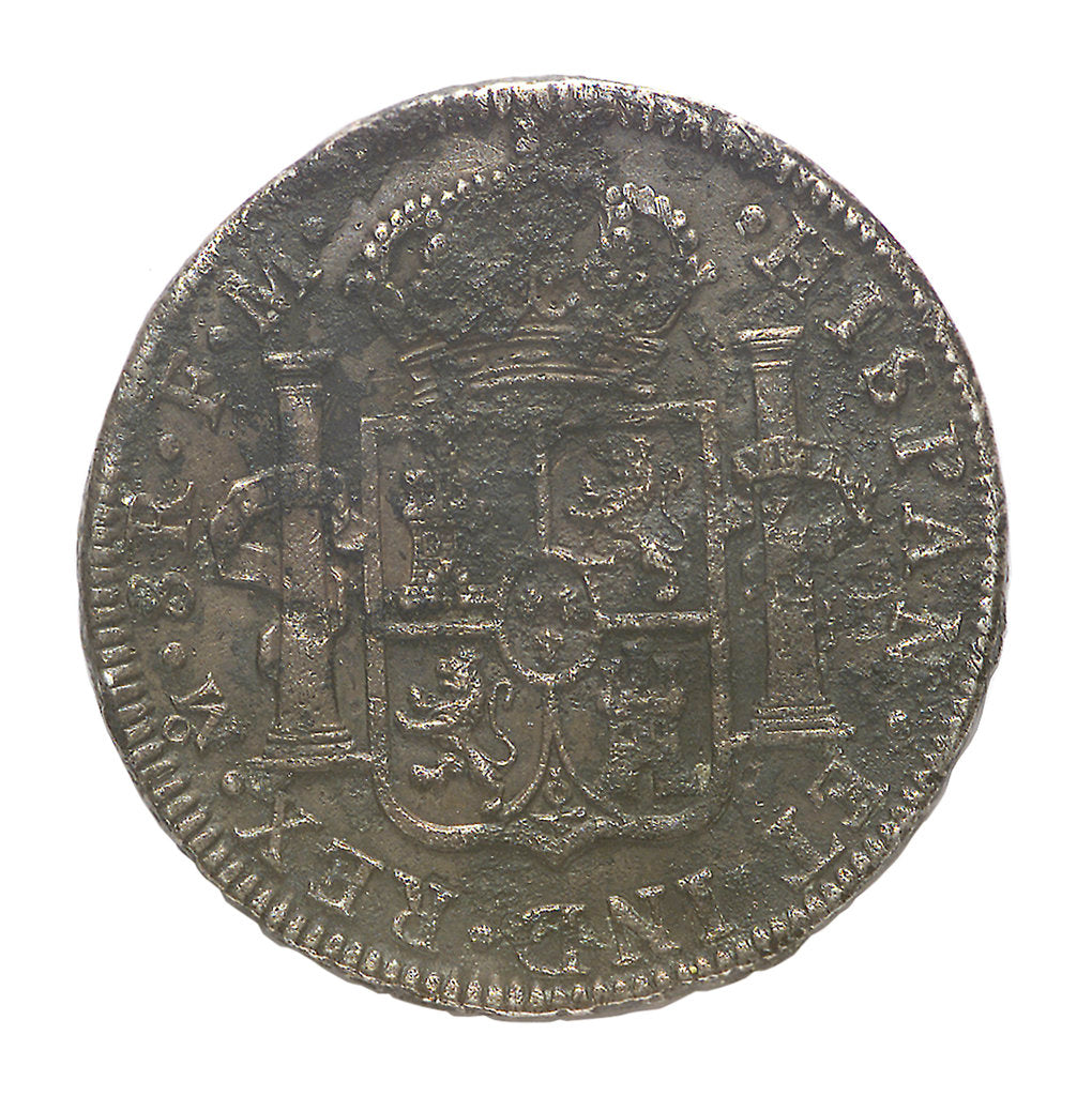 Detail of Eight reales; obverse by unknown