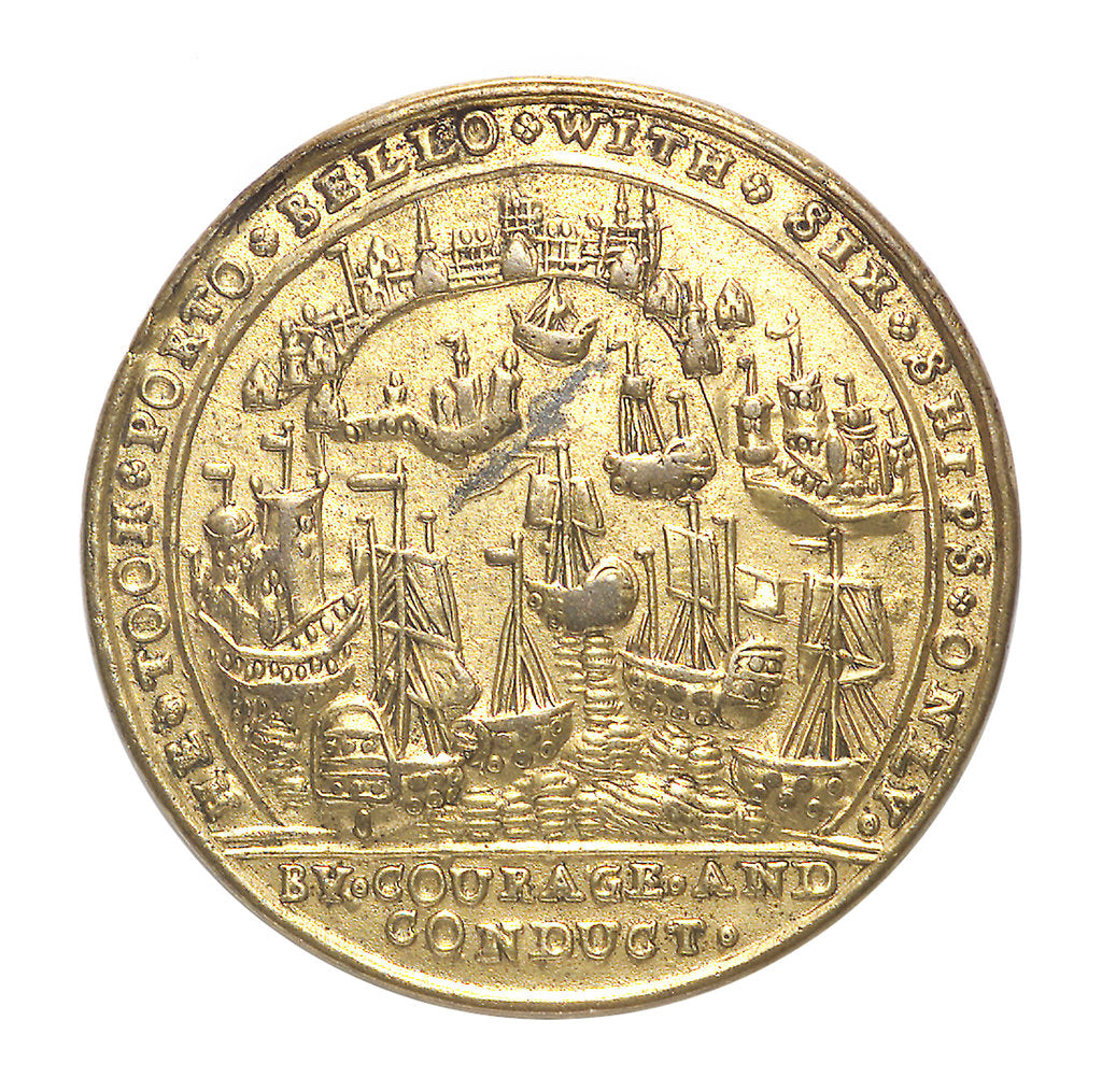 Detail of Medal commemorating the capture of Porto Bello, 1739 by Admiral Edward Vernon (1684-1757); reverse by unknown