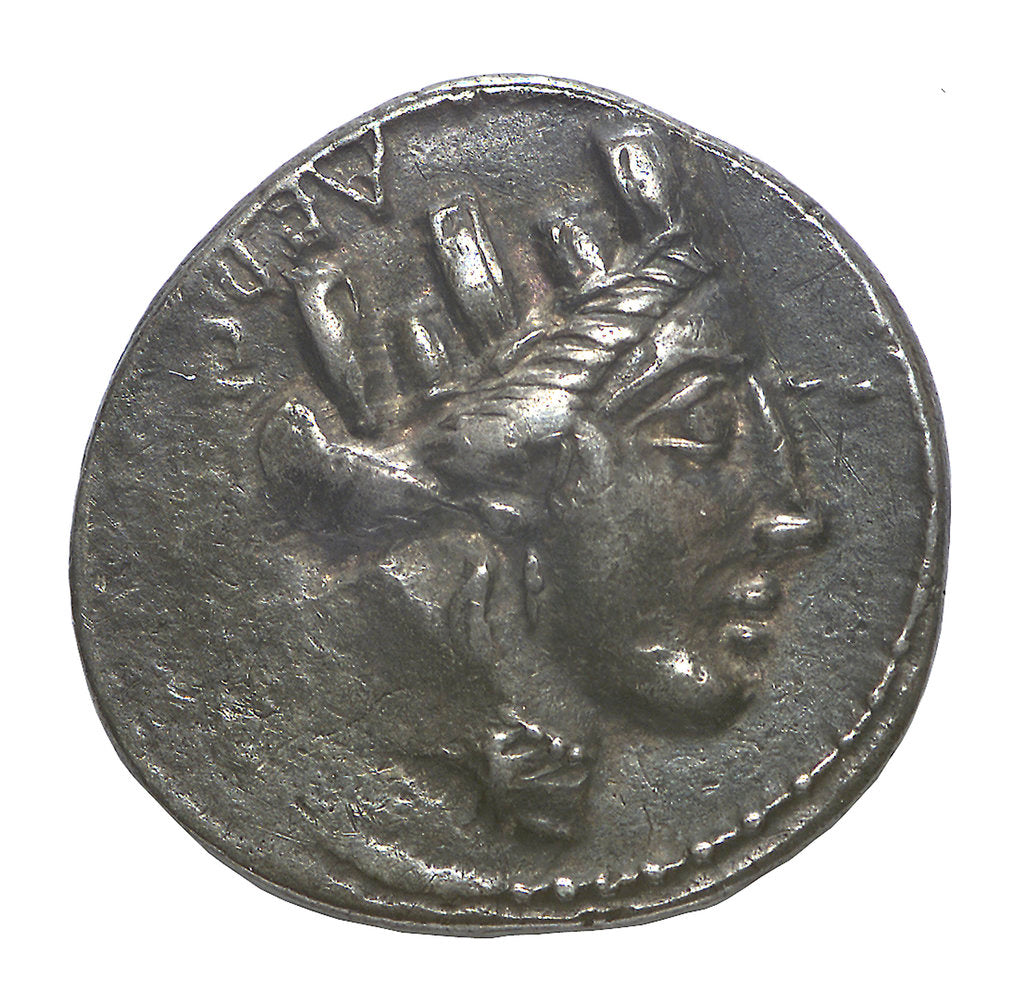 Detail of Denarius; obverse by P. Fourius Crassipes