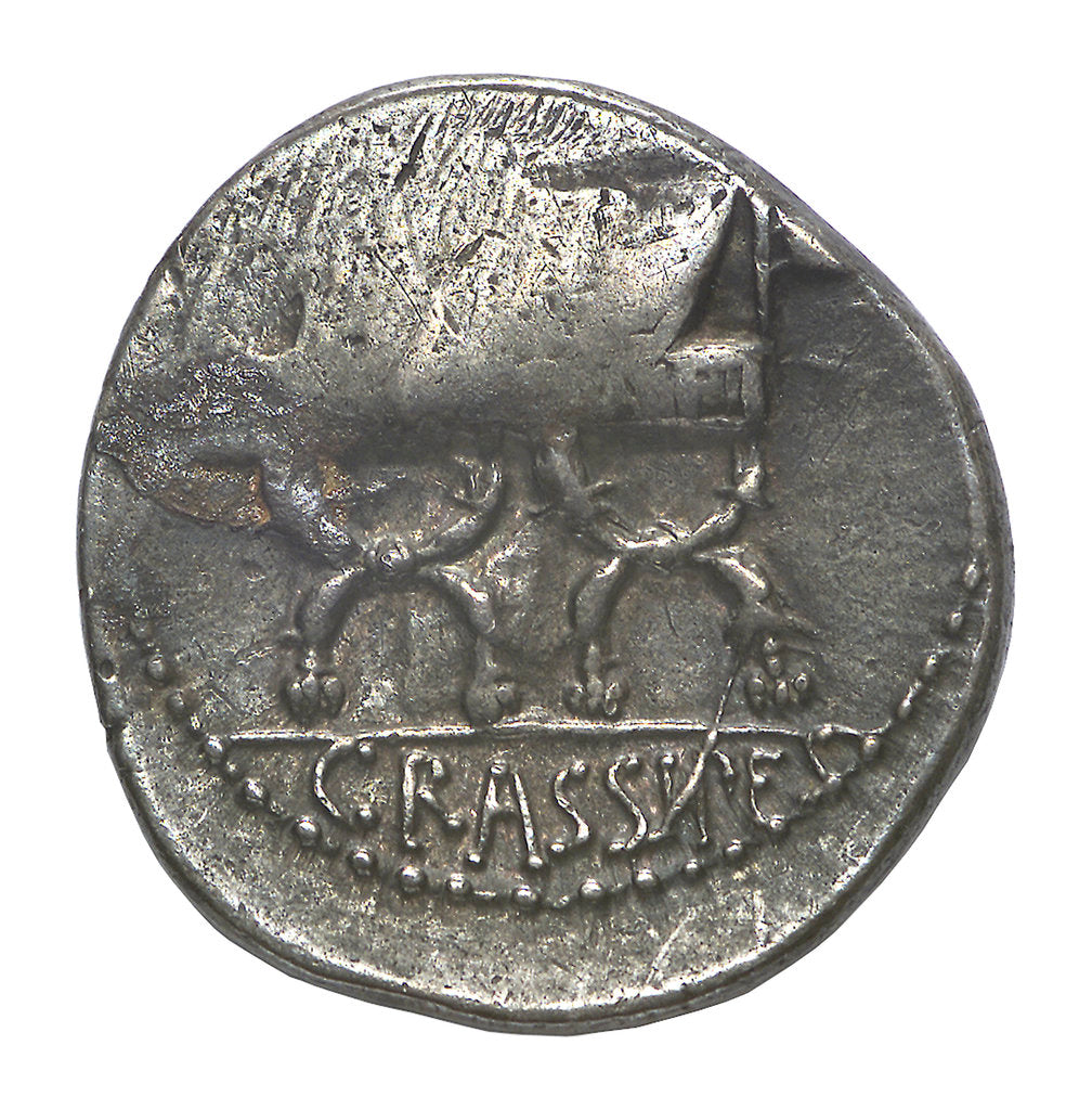 Detail of Denarius; reverse by P. Fourius Crassipes