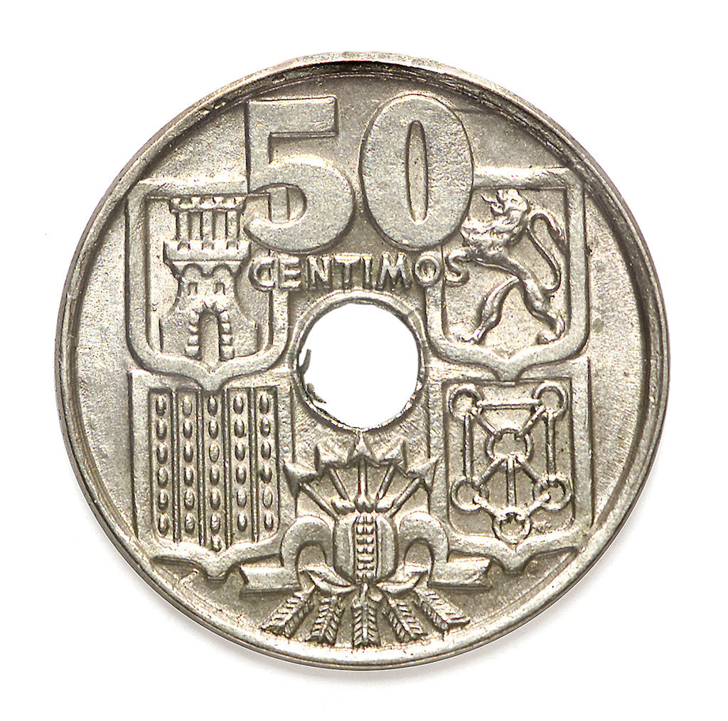Detail of 50 centimos coin; reverse by unknown