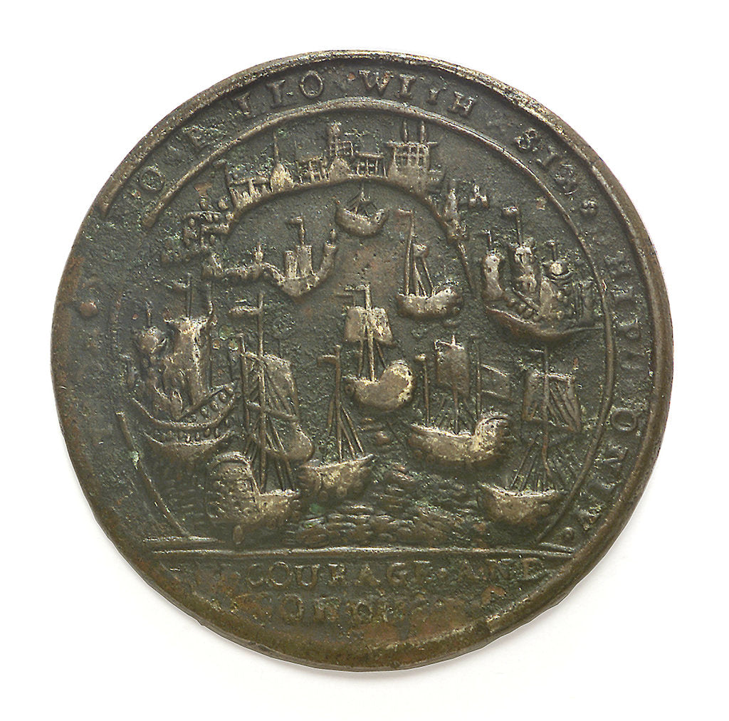 Detail of Medal commemorating Admiral Edward Vernon (1684-1757) and the capture of Porto Bello, 1739 by unknown