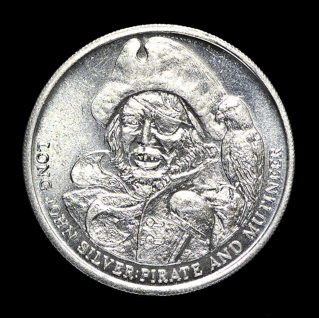 Detail of Medal commemorating R. L. Stevenson's novel 'Treasure Island'; obverse by unknown