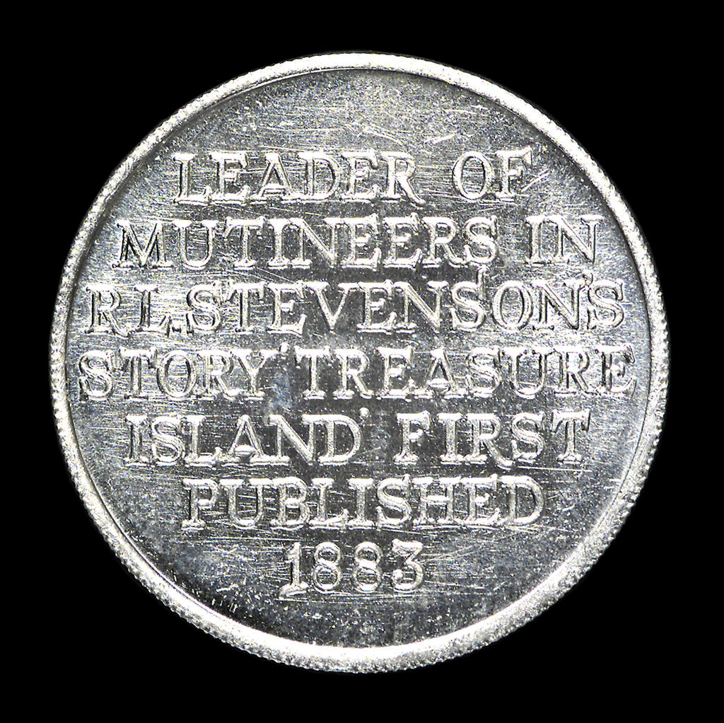 Detail of Medal commemorating R. L. Stevenson's novel 'Treasure Island'; reverse by unknown
