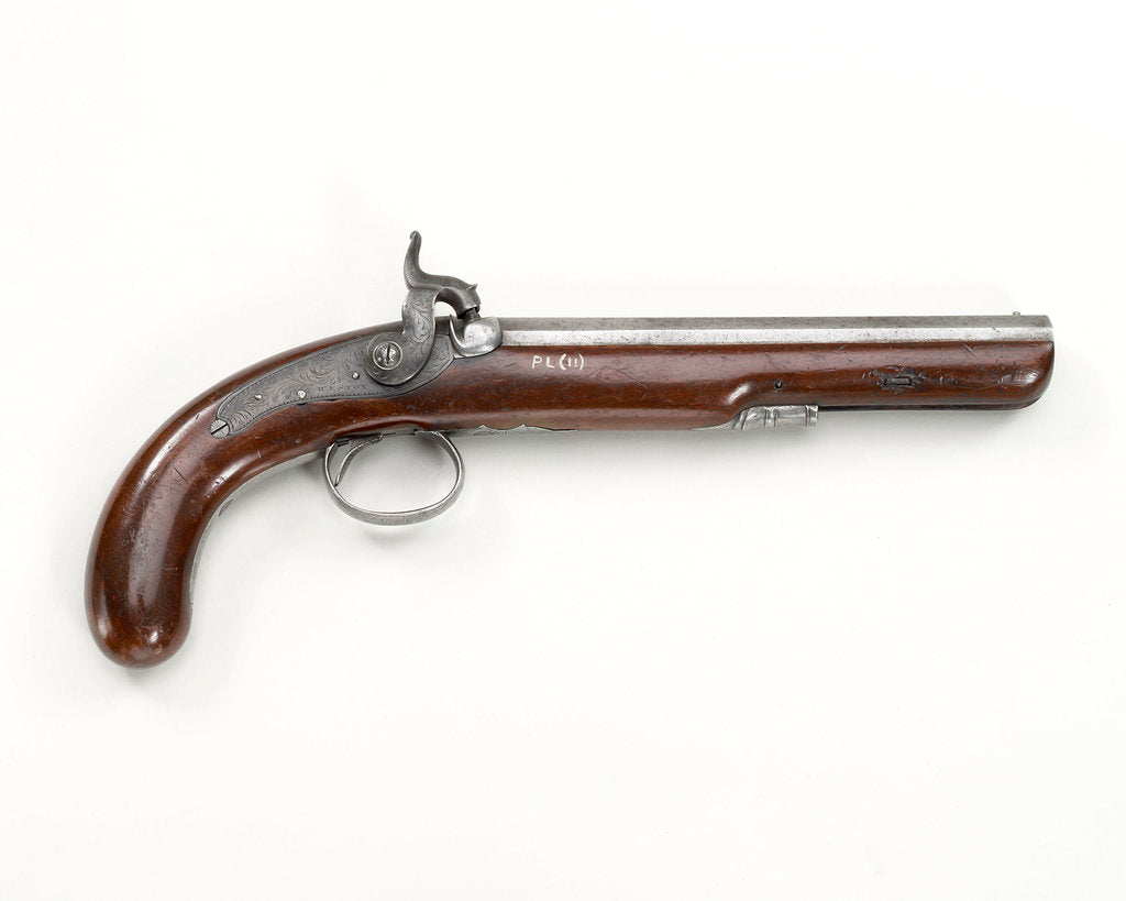 Detail of Percussion Back Action pistol by R. Weston