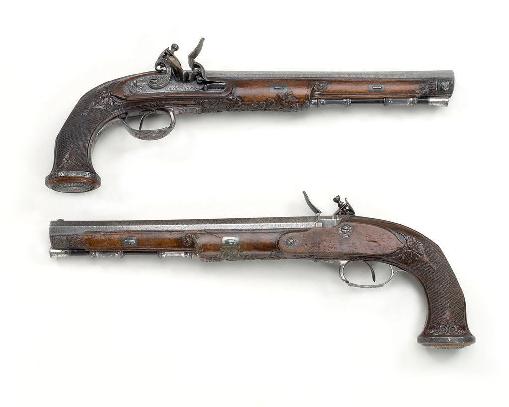 Detail of Flintlock pistols by Tatham & Egg