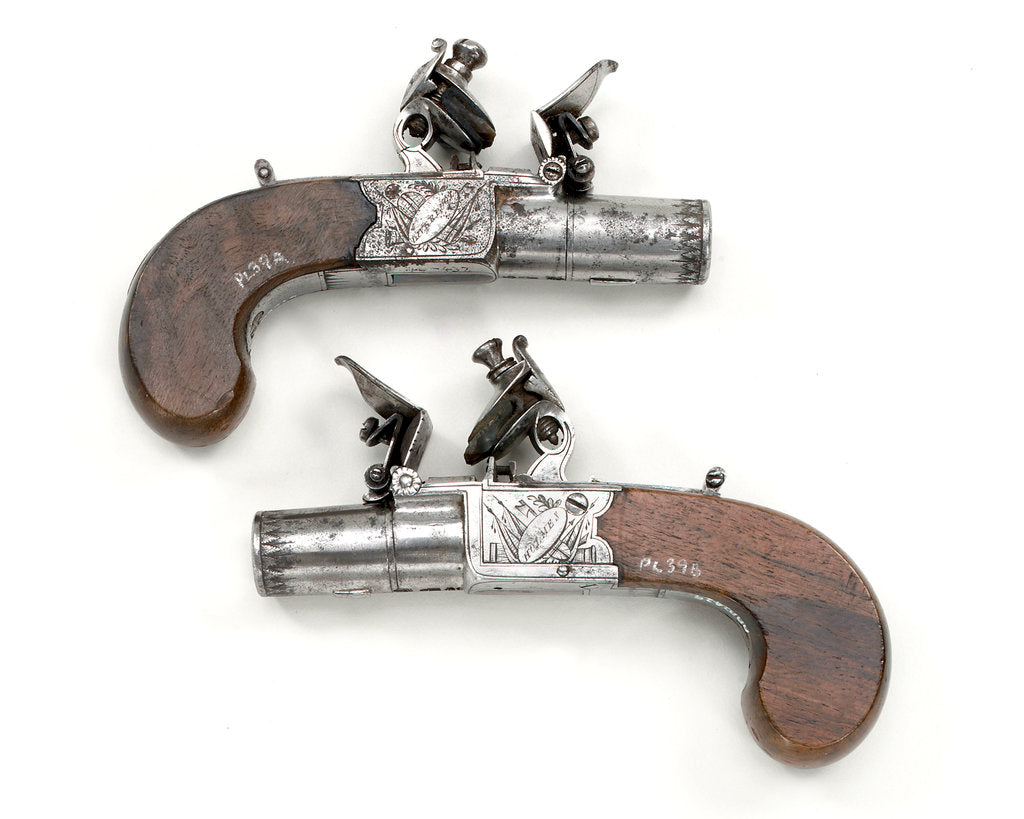Detail of Flintlock pistols by Holmes