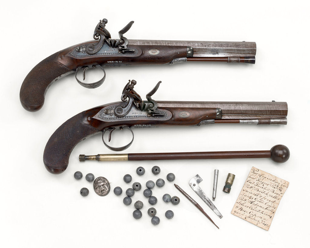 Detail of Duelling pistols by H. Nock