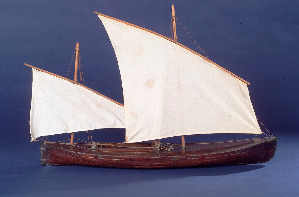 Detail of Full hull model, two masted open boat, starboard broadside by unknown