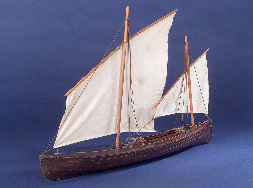 Detail of Full hull model, two masted open boat, port by unknown