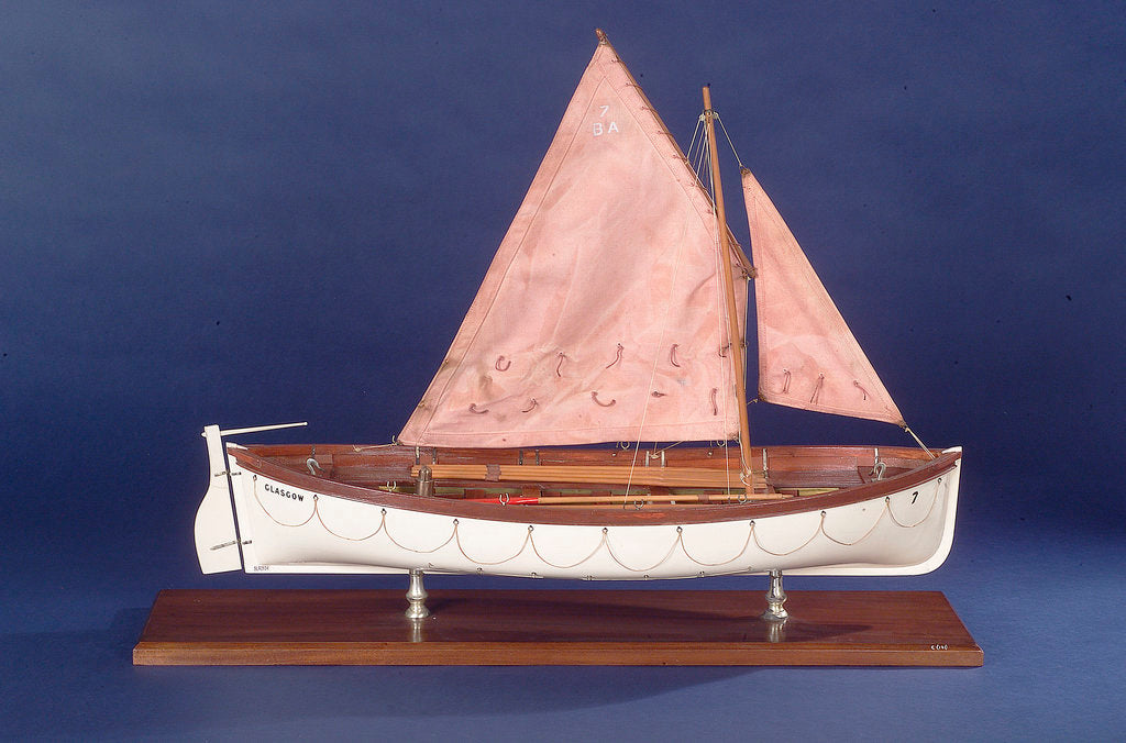 Detail of Full hull model representing 'Britannia' and 'Glasgow', starboard broadside by unknown