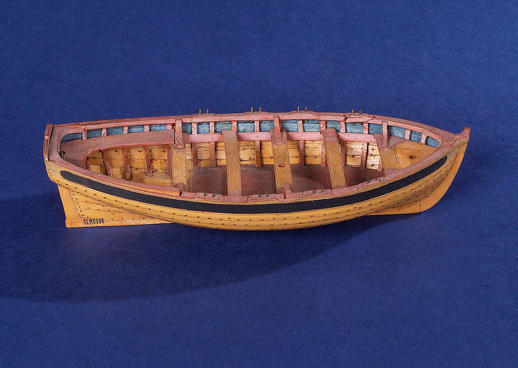 Detail of Full hull model of a ship's dinghy (circa 1795) by unknown