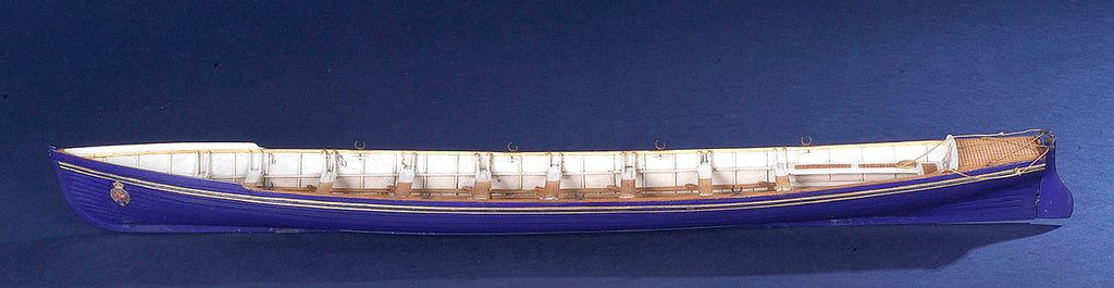 Detail of Full hull model, royal barge, port broadside by unknown